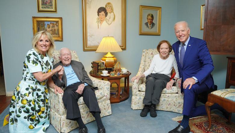 Ipostaza ciutadata cu familia Biden in vizita la fostul presedinte Jimmy Carter